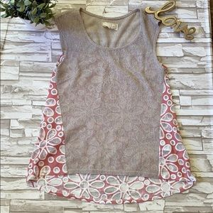 Areve Sheer Floral Knit Romantic Tunic